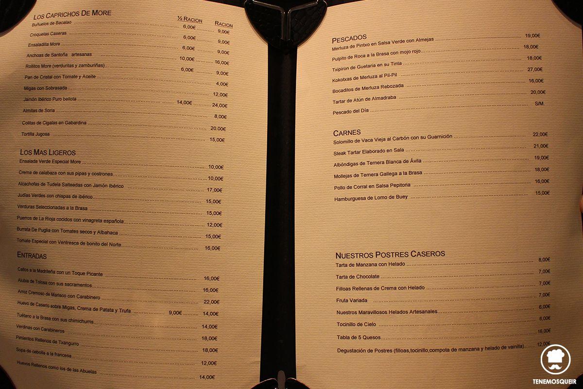 Carta Restaurante More Madrid Tenemosqueir