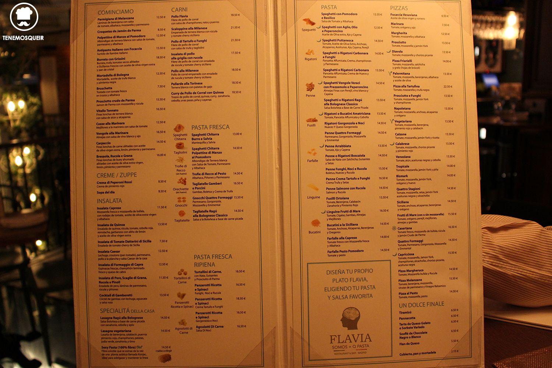 Carta Flavia Restaurante Italiano Madrid Tenemosqueir