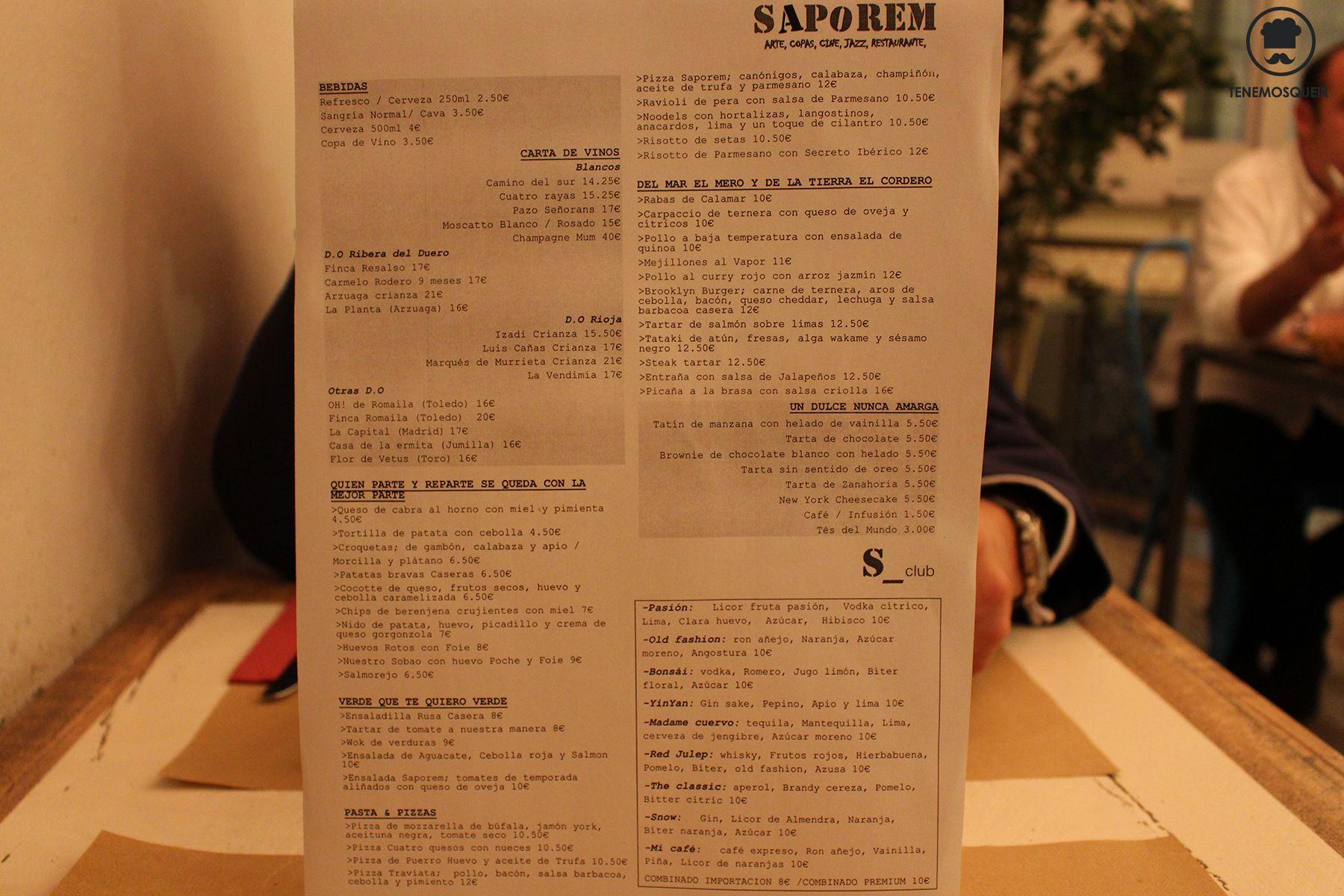 Carta Restaurante Saporem Chueca Madrid Tenemosqueir