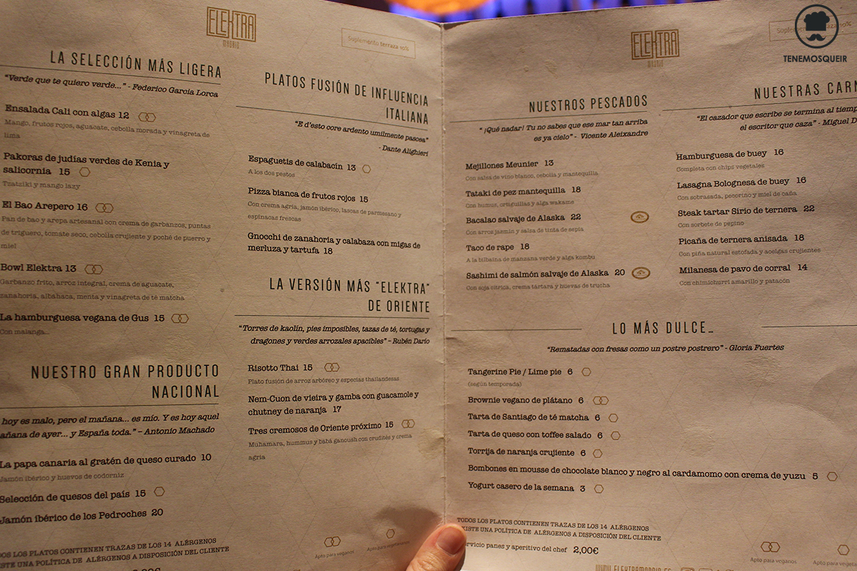 Carta Elektra Madrid Restaurante Tenemosqueir