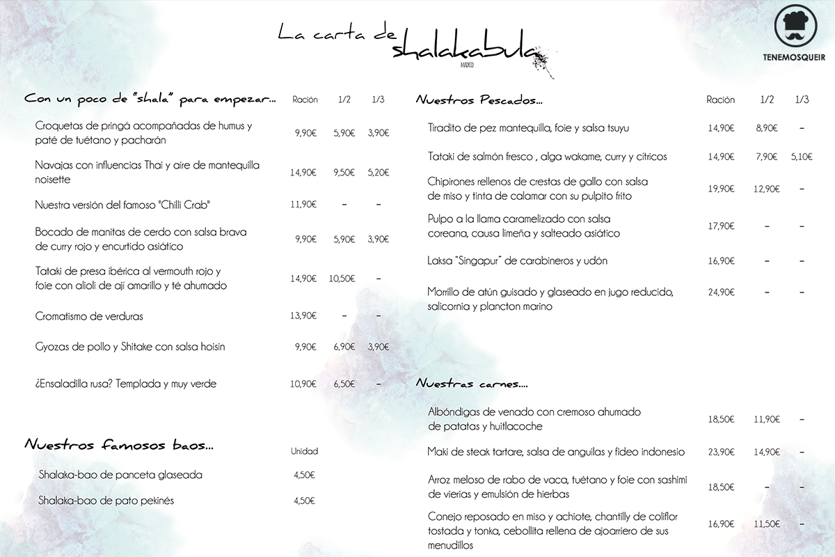 Carta Restaurante Shalakabula Madrid Tenemosqueir