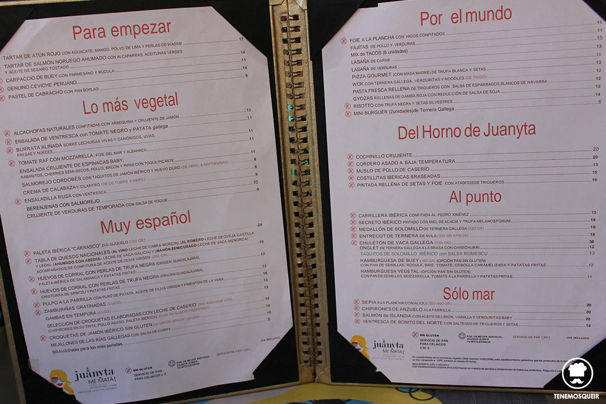 Carta Juanyta Me Mata Restaurante Madrid Tenemosqueir